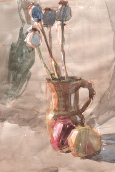 Vase et pommes